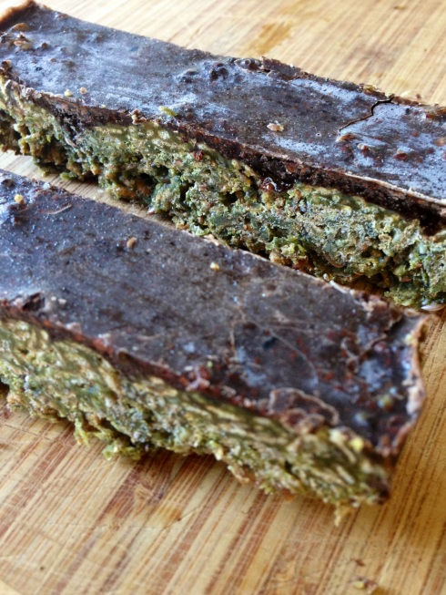 cacao covered greens bars