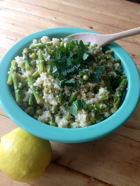 lemony quinoa salad with asparagus, peas and fresh mint ~vegan, gluten free~