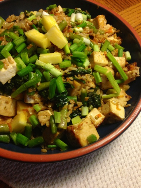 kale & asparagus pineapple fried rice with maple glazed tofu ~vegan, gluten free~