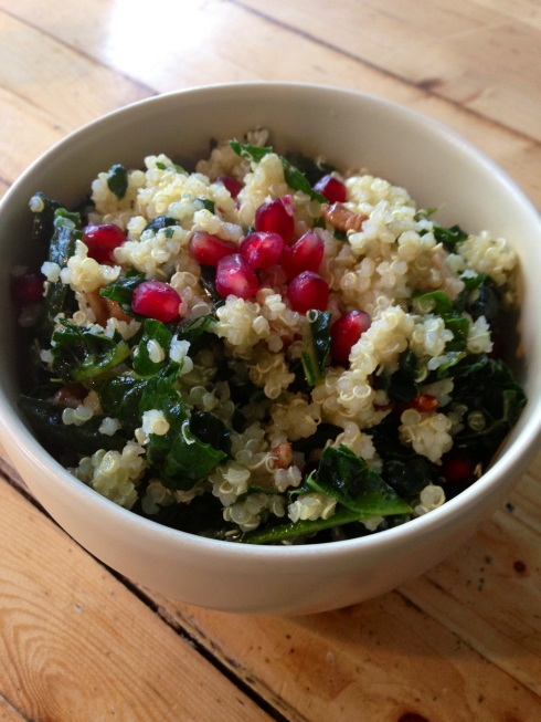 quinoa, kale and pomegranate salad  ~ vegan, gluten free ~ A festive holiday dish!