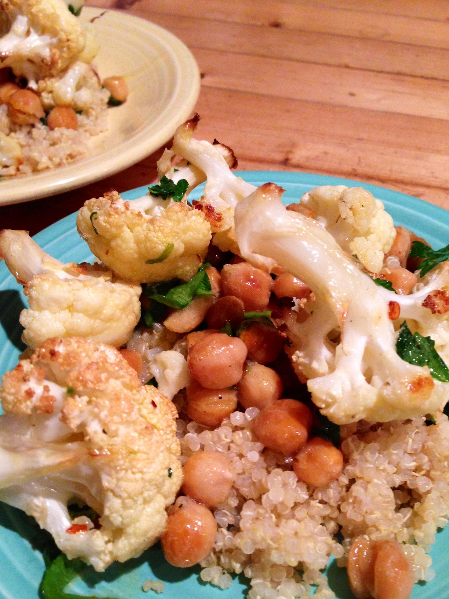 roasted cauliflower and chickpeas with lemon dijon dressing ~meatless ...